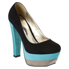 Womens Xhilaration® Sigrid Colorblock Platform Pump - Black w/ Blue
