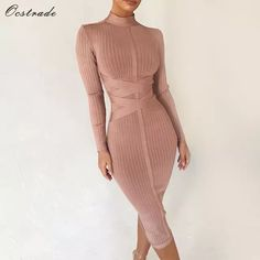 Back Zippers Wine Red Long Sleeve Knee Length Bodycon Dress Sexy Women Party New Winter Bandage Dress Vestidos Cheap Dresses, Sexy Dresses, Cute Dresses, Fashion Dresses, Party Dresses For Women, Elegant Dresses, Short Dresses, Pastel Outfit, Long Sleeve Bandage Dress