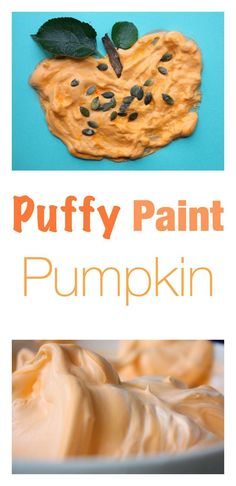 Fantastic Fall - Autumn Craft for Kids. Puffy Paint Pumpkin with real pumpkin seeds!