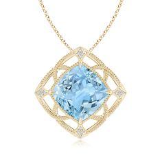 This intriguing delicate design would definitely make your anniversary evening a lot more adventurous ;) . Claw-Set Aquamarine Fleur De Lis Pendant