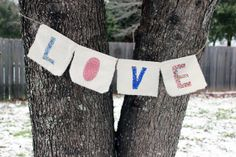 LOVE Fabric Banner, Vintage Fabric Banner, Wedding Garland, Valentine's Day - Letter Kay