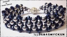 Felicia bracelet in silver and blue-black Czech crystals. The design is my own. Handmade by me.