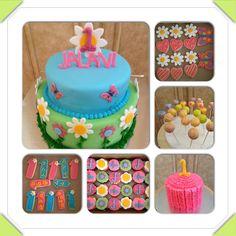 Garden girl 1st birthday cake, ruffle smash cake, spring cake pops, cookies. Flowers, butterflies www.facebook.com/cakeitorleaveitcakesbymarianne
