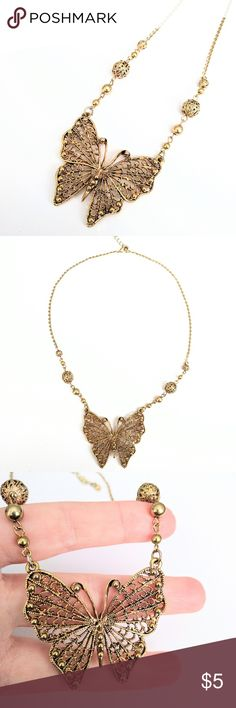 """Butterfly necklace Super unique!  Gently used in excellent condition.  Can adjust in length between 18-21"""". Jewelry Necklaces"""