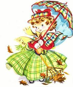 Vintage fall illustration, cute girl w/ umbrella