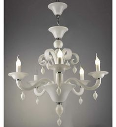 The elegant and clean feel of this Murano glass style chandelier is complemented beautifully with the white finish.