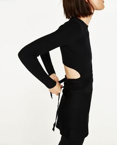 CROPPED SWEATER WITH RIBBON-View All-KNITWEAR-WOMAN | ZARA United States