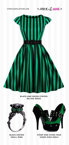 Shop this all #rockabilly #green #outfit at AtomicJaneClothing.com! Only Fashion, Fashion Beauty, Girl Fashion, Burlesque Dress, Corsets Online, Plus Size Corset, Jane Clothing, Casual Street Style, Easy Wear