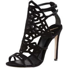 B Brian Atwood Cutout Suede Sandal, Black ($425) ❤ liked on Polyvore featuring shoes, sandals, heels, sapatos, zapatos, black suede shoes, suede sandals, heeled sandals, ankle wrap sandals and black high heel sandals