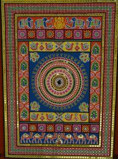 A Traditional Gujarati Artwork with Mirror Work On Mud Indian Art Mud Work Paintings Mirror Painting, Mirror Art, Mural Painting, Texture Painting, Madhubani Art, Madhubani Painting, Kalamkari Painting, Clay Wall Art, Mural Wall Art