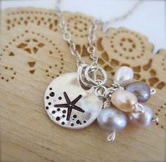Estrella de mar en el collar de arena mano estampada - collar de estrella de mar de plata esterlina, collar de boda playa, damas de honor, boda hawaii