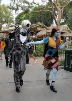 Guests can meet Jack and Sally at Disneyland during Halloween.