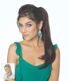 """Quick Clip 2 Straight (formerly Charm Straight) Adds sleek long hair to a ponytail or bun, 18""""-19"""" length straight hair attached to butterfly clip"""