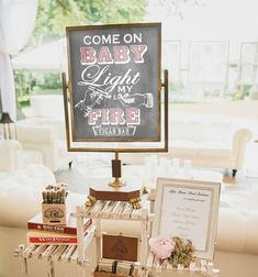 Come on Baby Light my fire. Perfect sign for our wedding cigar bar, and then someday for our baby shower! We could even hang it in the backyard. Love this sign. Baby Shower Cigar Bar Sign Come on Baby Light by DesignerCanvases, $17.00
