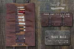 This handmade leather tool roll is made from 2 different leathers*. The pockets are reinforced with rivets. The straps are made from about 3