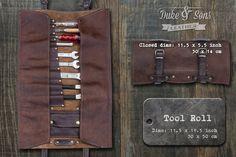Handgefertigte Leder Tool Roll mit Taschen, Ihre Werkzeuge zu speichern