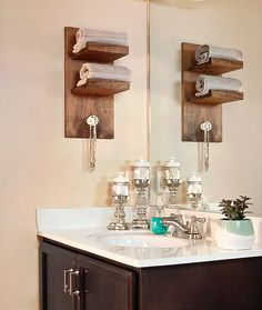 The cool wall-mounted towel holder was inspired by @shanty2chic. It's one of three easy DIYs to give this small bathroom a little more convenience and visual appeal. Check out our tutorial on The Home Depot Blog.