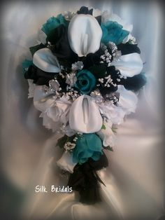 Bridal Bouquet Silk Wedding Flowers BLACK Teal/Jade White Silver CALLA Roses Bride. $49.98, via Etsy.