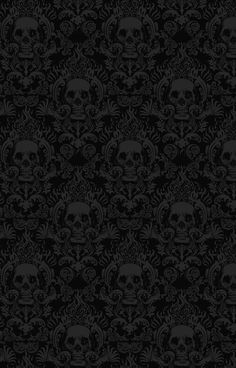 skull wallpaper Damask wall stencils, Dark home decor
