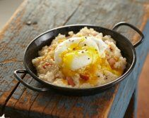 Cheese, Bacon and Wheat Germ Grits with Poached Eggs