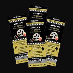 Printable Movie Night Party Ticket Invitations Personalized Custom