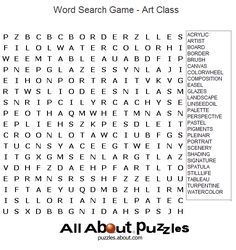 Art Worksheets | Printable Word Search - Art Class Word Search Puzzle
