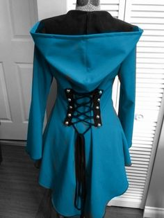 steampunk Blue Red Riding Hood Raincoat