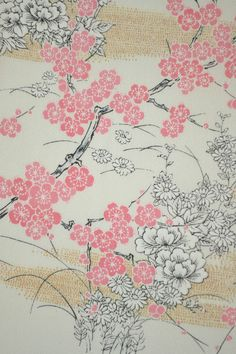 VINTAGE SILK KIMONO FABRIC:Plum Blossom/Chrysanthemum@H87