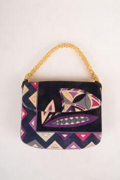 VINTAGE Emilio Pucci Purple Blue Black Velvet Printed Chain Strap Purse