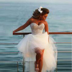 Fashionable Wedding Dresses ,High Low Tulle Short Wedding