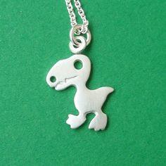 Tiny Dinosaur Pendant TRex Charm Necklace Sterling por zoozjewelry, $21.00