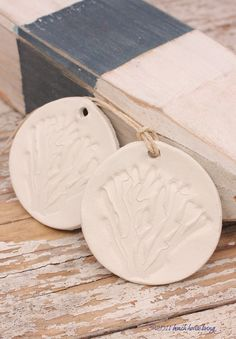 Coral branch ornament White Clay hand stamped.
