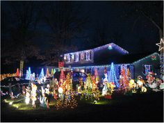 11 - Outrageously Over-the-Top Christmas Light Displays! An Animated Display Christmas Party Games, Christmas Themes, Christmas Fun, Outside Christmas Decorations, Decorating With Christmas Lights, Outdoor Decorations, Christmas Light Show, Christmas Light Displays, Tree Lighting