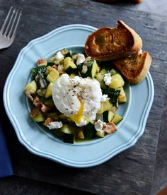 Zucchini Summer Skillet with Poached Eggs + Garlic Brown Butter Baguettes