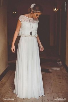 Joana Montez 2016 Wedding Dress - Hochzeitskleid - Wedding World Wedding Dress Chiffon, 2016 Wedding Dresses, Bridal Dresses, Maxi Dresses, Wedding Gowns, Lace Wedding, Vintage Boho Wedding Dress, Dresses 2016, Modest Wedding