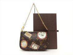 Louis Vuitton Auth Monogram Patch Mini Pochette Accessoires POUCH Cosmetic Bag #LouisVuitton #CosmeticBags