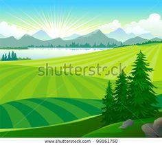 Sunrise In Green Hills Stock Vector Illustration 99161750 ...