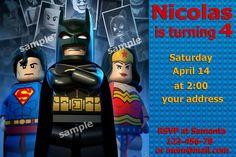 Lego birthday invitation Printable Batman by SeviliaInvitations, $5.90
