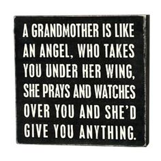 """iThe Message:  A grandmother is like an angel, who takes you under her wing, she prays and watches over you and shed give you anythingibrbrliDimensions: 4""""w x 1.75""""d x 4""""hlibrbrThis ..."""