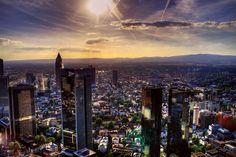 Frankfurt skyline aerial.