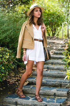Vestido camisero y biker ante, little white dress, mango jacket, Zara dress