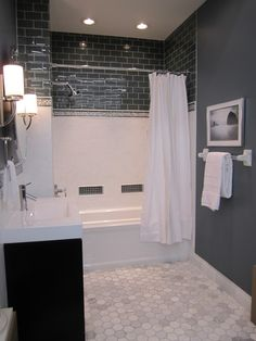 I like the color of the paint and tiles: bathrooms - Sherwin Williams - Foggy Day - Vanity from Virtu USA, tile from the Tile Shop,  White and blue bathroom with marble floor