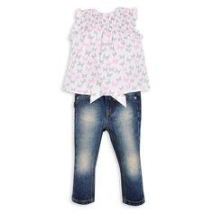 Blusa EPK para bebé niña con estampado de mariposas de color gris y rosado.