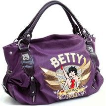 $49.99  Betty Boop® classic shoulder bag w/  sequin accents PURPLE