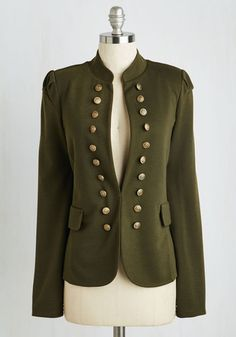 I Glam Hardly Believe It Jacket in Olive - Green, Solid, Buttons, Casual, Military, Fall, Mid-length, Variation, Knit