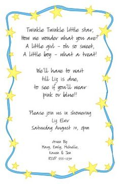 twinkle twinkle invitation....cute idea for keeping the sex a surprise