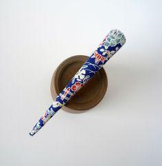 Blue Kimono Beak Clip Japanese Silk Fabric Long by tomoandedie