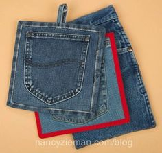 Denim Pocket Pot Holders and Mitts Potholders, Old jeans