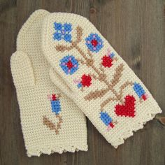 Mittens In Tunisian Crochet With Cross Stitch Motif