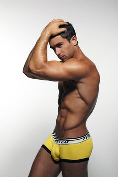 Rick wearing a Timoteo Sport Scout Square Cut Brief in Yellow.    Photo by Allen Zaki  96% Cotton 4% Spandex  Made in The USA